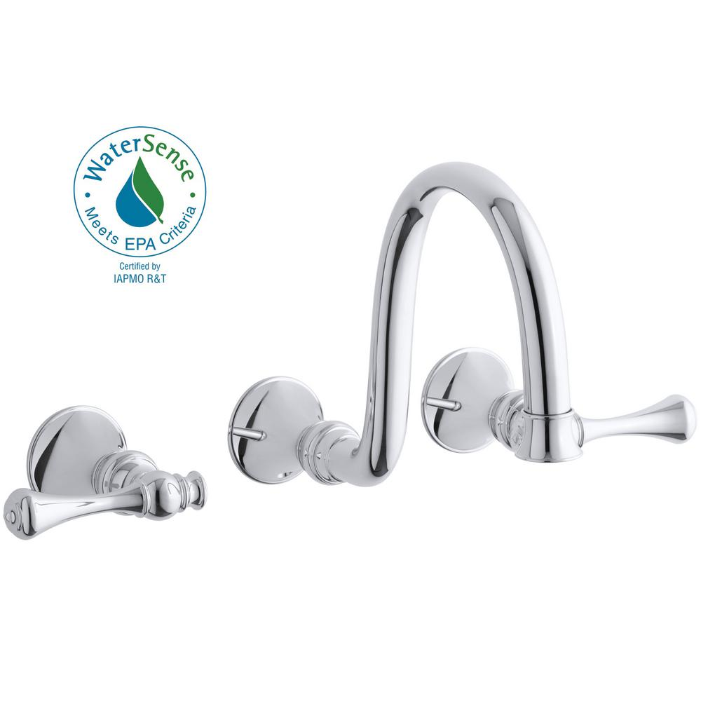 KOHLER Revival Wall-Mount 2-Handle Water-Saving Bathroom Faucet Trim Kit in Polished Chrome (Valve Not Included)