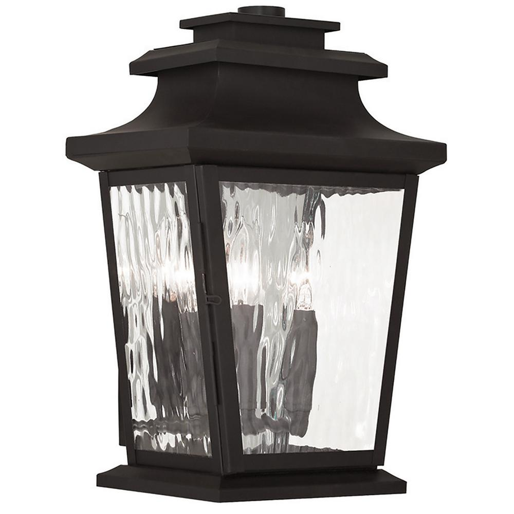 Hathaway 3-Light Bronze Outdoor Wall Mount Lantern