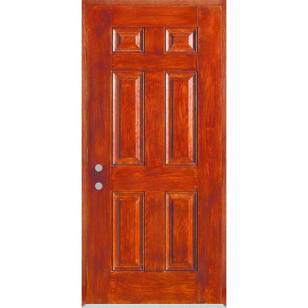 Stanley doors 36 in x 80 in right hand infinity 6 panel stained fiberglass woodgrain prehung for 36 x 80 fiberglass exterior door