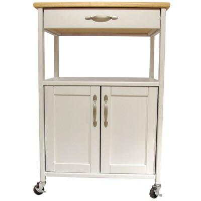 Cottage White Kitchen Cart with Natural Wood Top