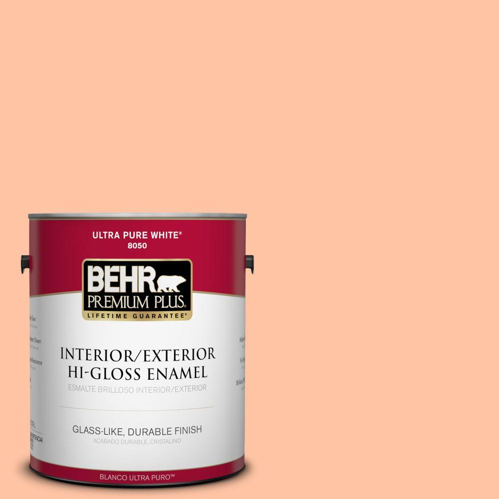 BEHR Premium Plus 1-gal. #P200-3 Tomorrow's Coral Hi-Gloss Enamel Interior/Exterior Paint