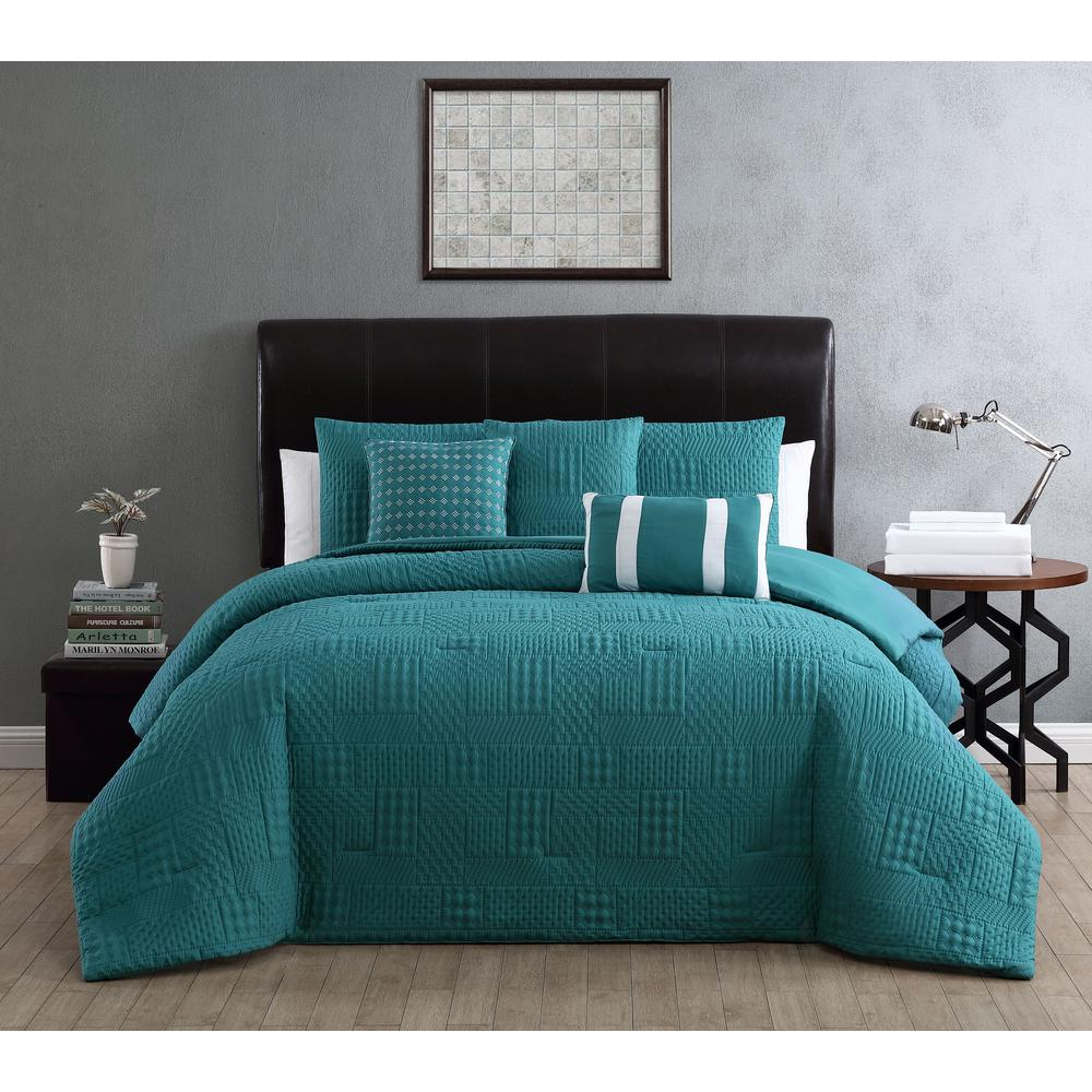 Addison House Yardley 10 Piece Embossed Teal King Comforter Set