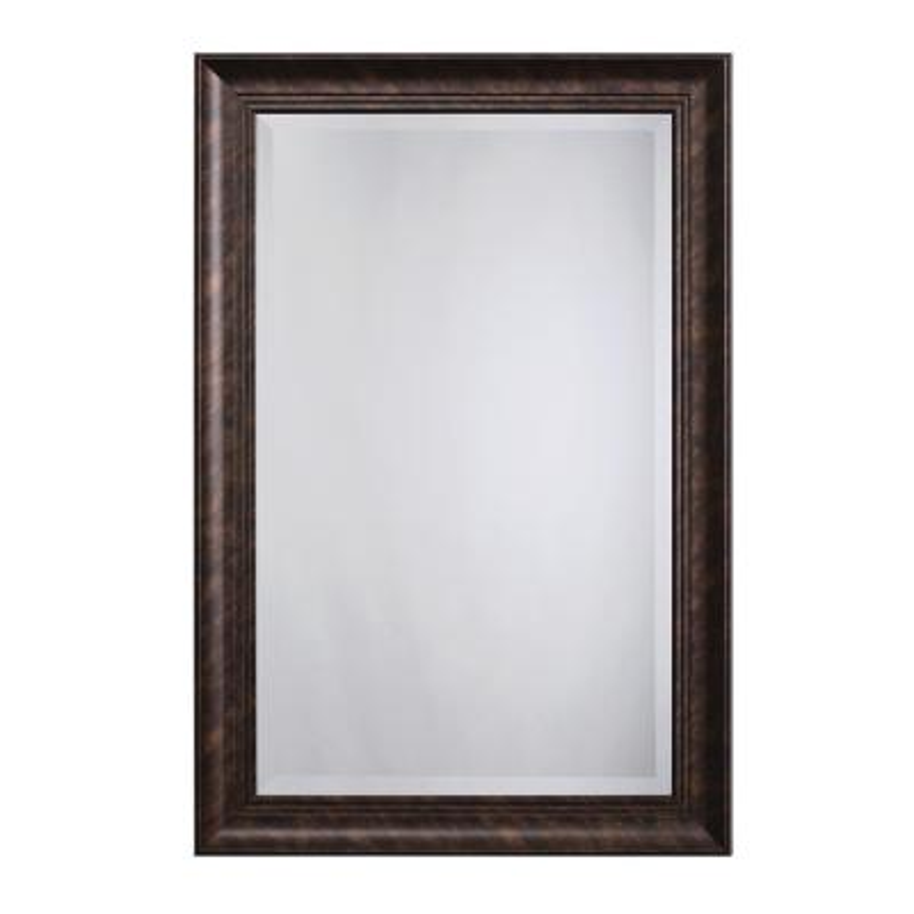 Medium Rectangle Dark Bronze Beveled Glass Casual Mirror (36 in. H x 24 in. W)