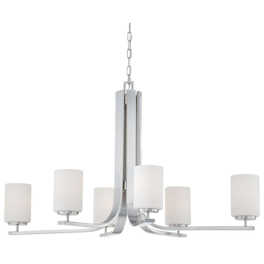 Pendenza 6-Light Brushed Nickel Hanging Chandelier