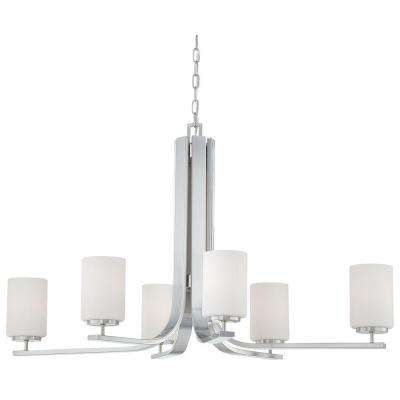 Pendenza 6-Light Brushed Nickel Hanging Chandelier