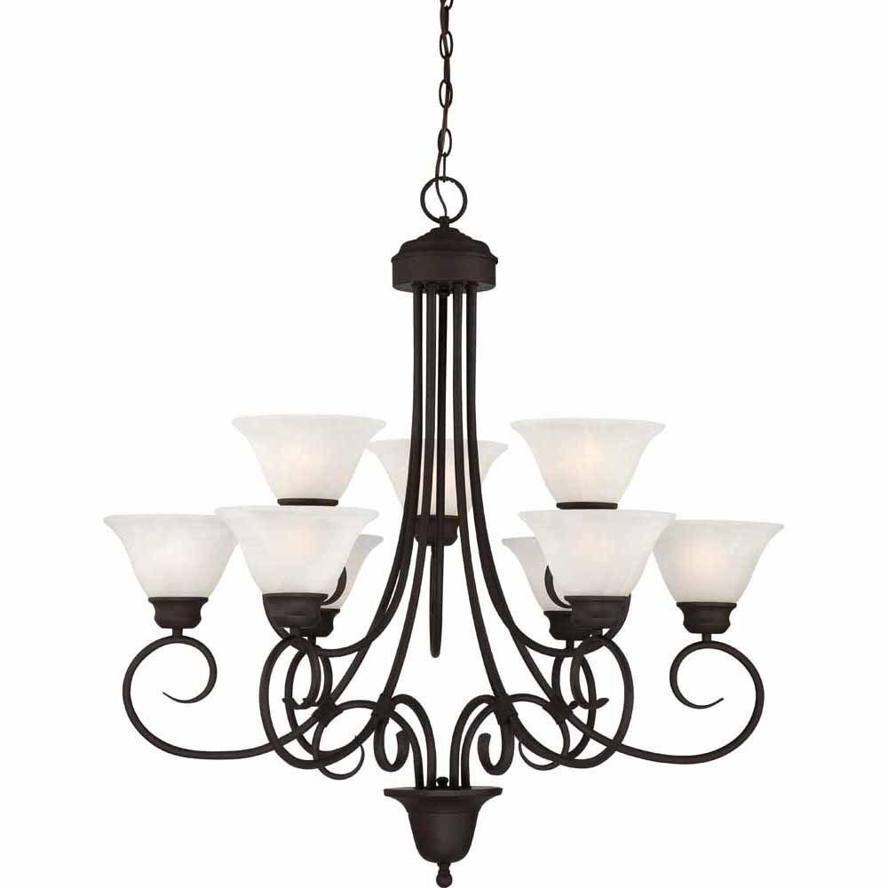 Filament Design Lenor 9-Light Antique Bronze Incandescent Ceiling Chandelier