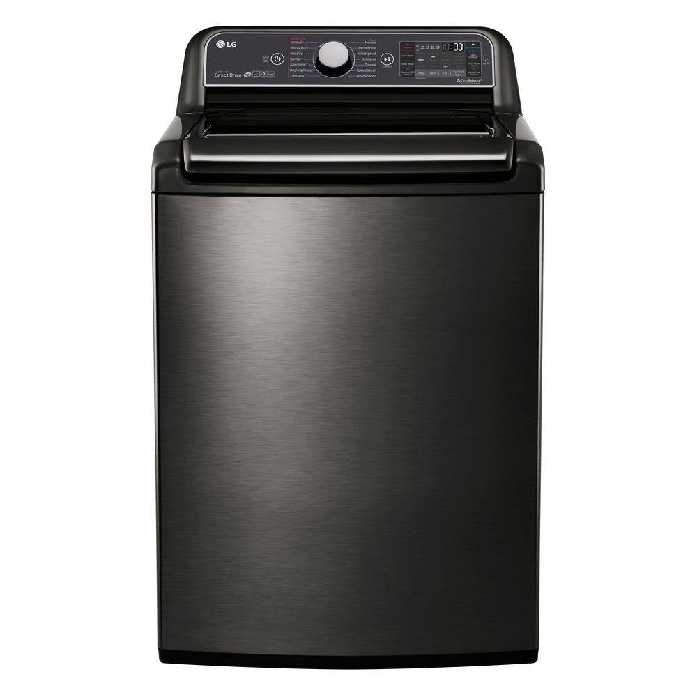 LG Electronics 5 2 cu  ft  High Efficiency Top Load Washer with Steam and  Turbo Wash in Black Stainless, ENERGY STAR