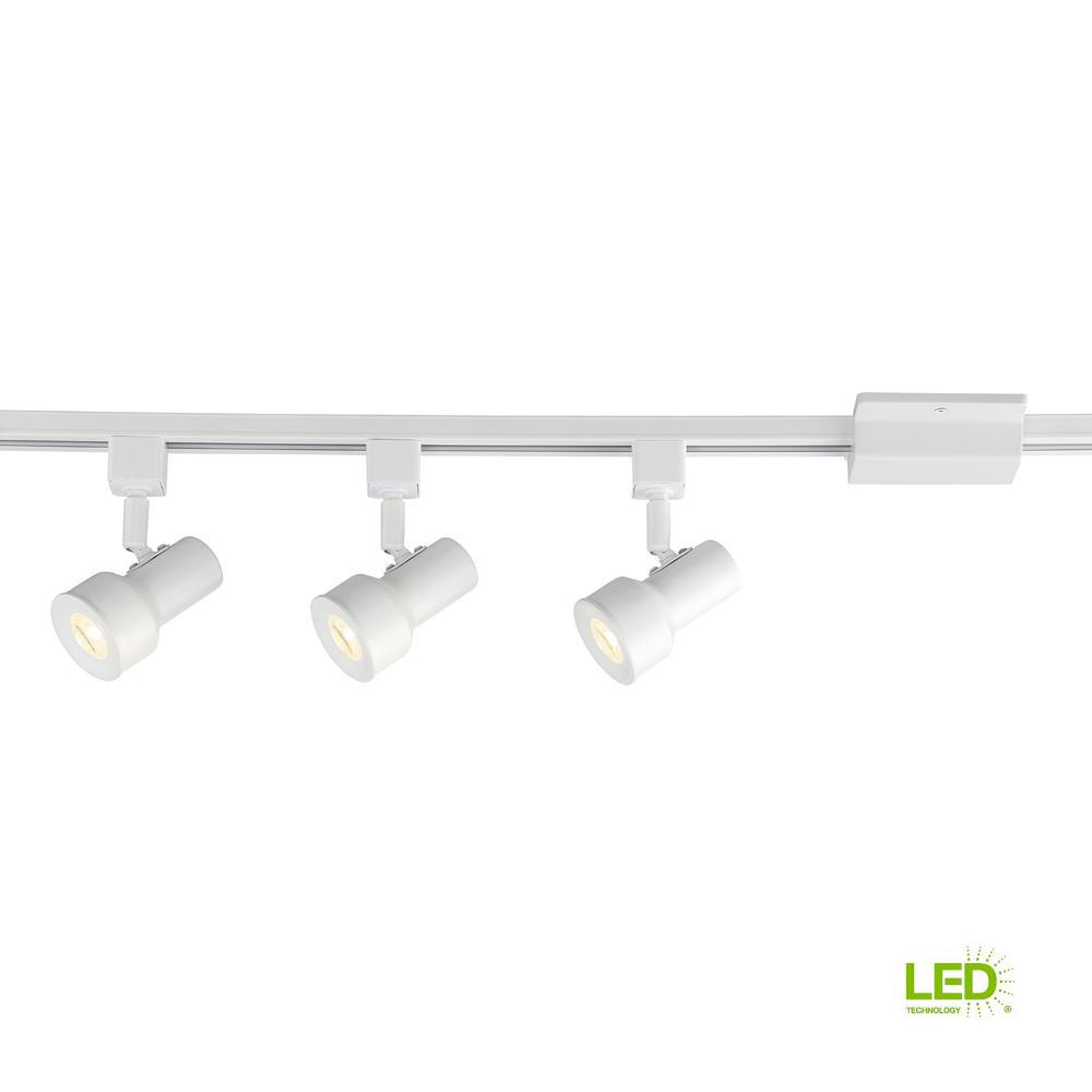 3.5 ft. Solid White Integrated LED Track Lighting Kit with 3-Small