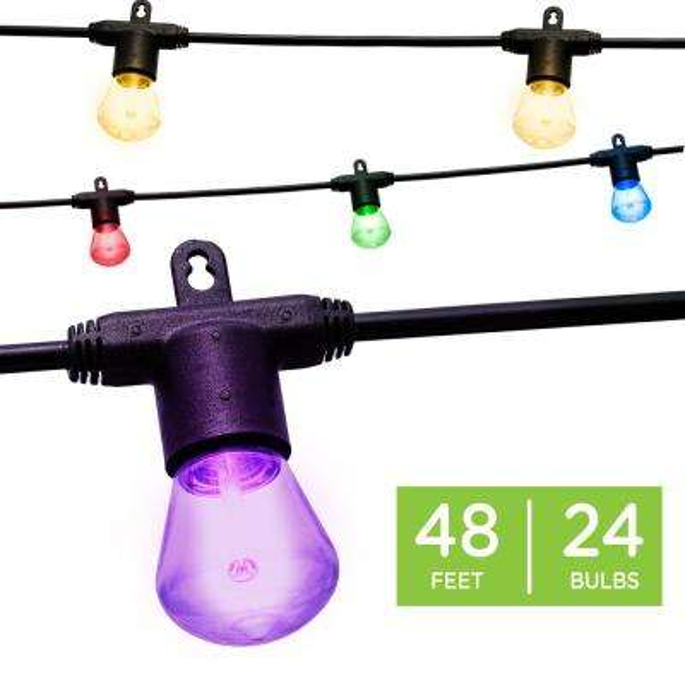 Outdoor 48ft Color Changing Bistro String Lights