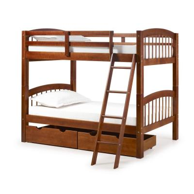 Spindle Chestnut Twin Over Twin Wood Bunk Bed with Under Bed Storage Drawers