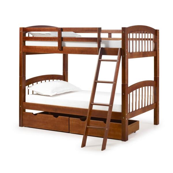 Alaterre Furniture Spindle Chestnut Twin Over Twin Wood Bunk Bed