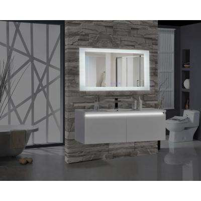Encore BLU103 60 in. W x 27 in. H Rectangular LED Illuminated Bathroom Mirror with Bluetooth Audio Speakers