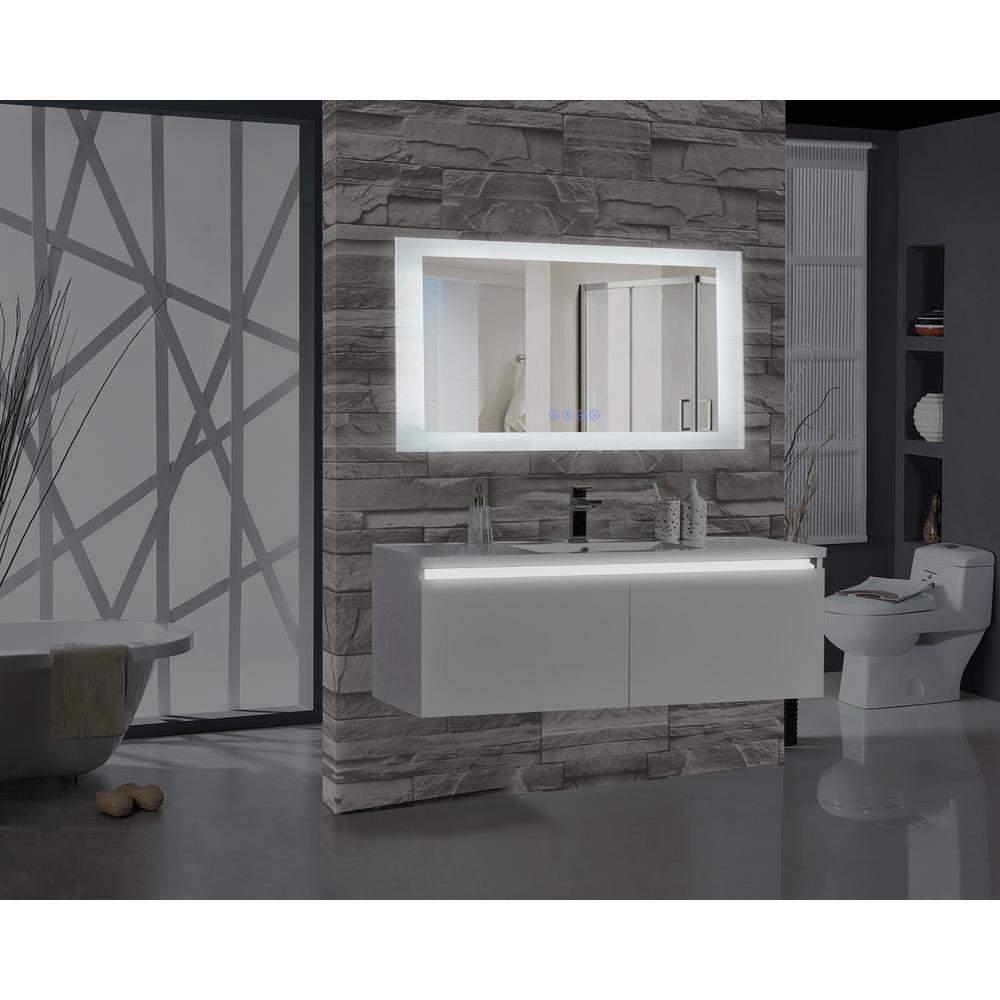 Encore BLU103 60 inch W x 27 inch H Rectangular LED Illuminated Bathroom Mirror with Bluetooth Audio Speakers by