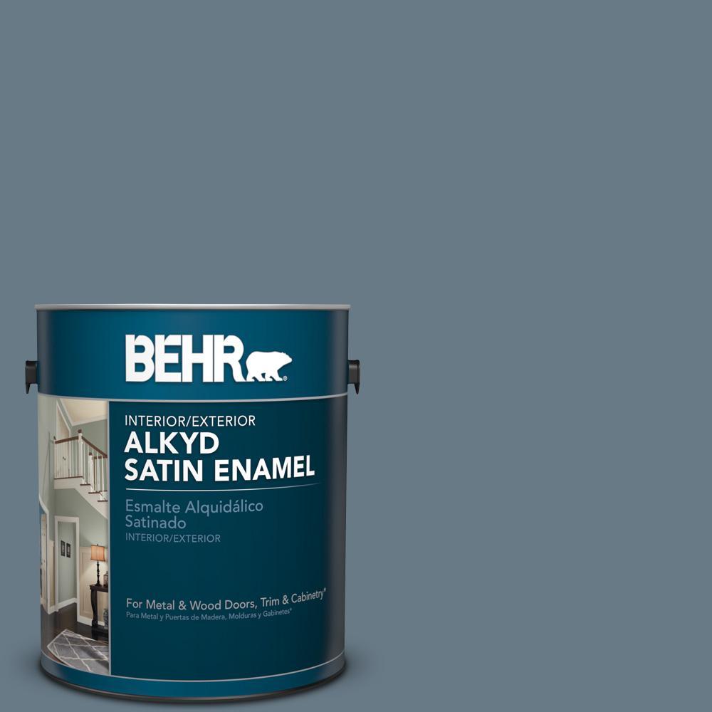 1 gal. #N490-5 Charcoal Blue Satin Enamel Alkyd Interior/Exterior Paint