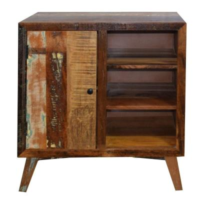 Handcrafted Distressed Brown Wooden Storage Cabinet with-Door and 3-Open-Shelves 29.53 in. L x 15.75 in. W x 33.46 in. H