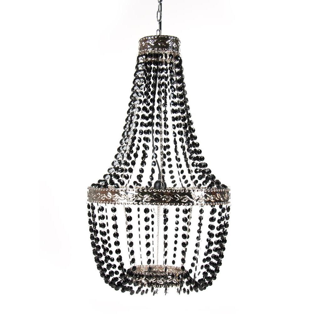 tadpoles 1-light black onyx beaded chandelier-cchbed020