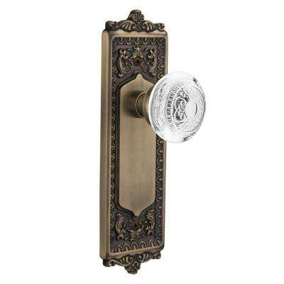 Egg and Dart Plate 2-3/8 in. Backset Antique Brass Passage Hall/Closet Crystal Egg and Dart Door Knob