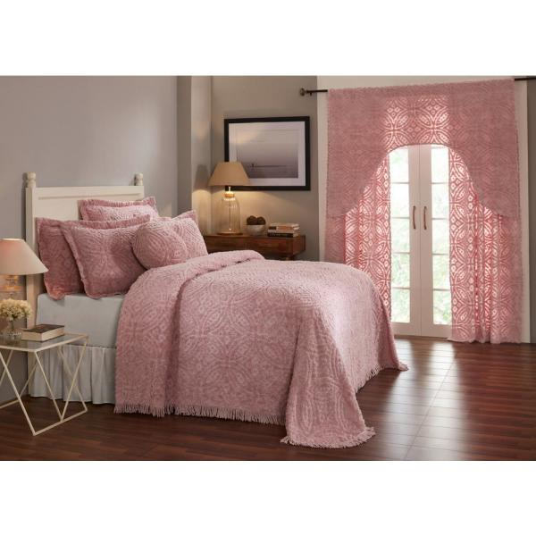 Double Wedding Ring Collection & Design Pink Full/Double 100% Cotton Tufted Luxurious Soft Plush Chenille Bedspread