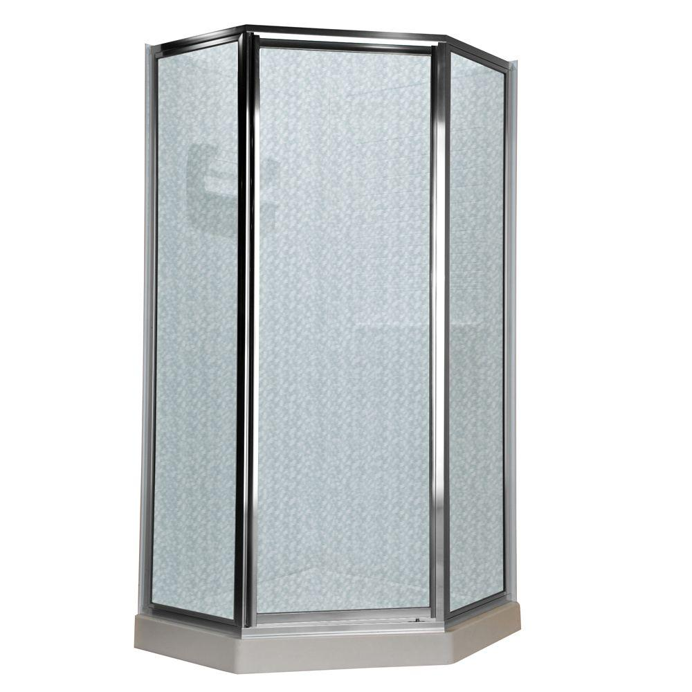 American Standard Prestige 24.25 in. x 68.5 in. Neo-Angle Shower Door in Silver and Hammered Glass