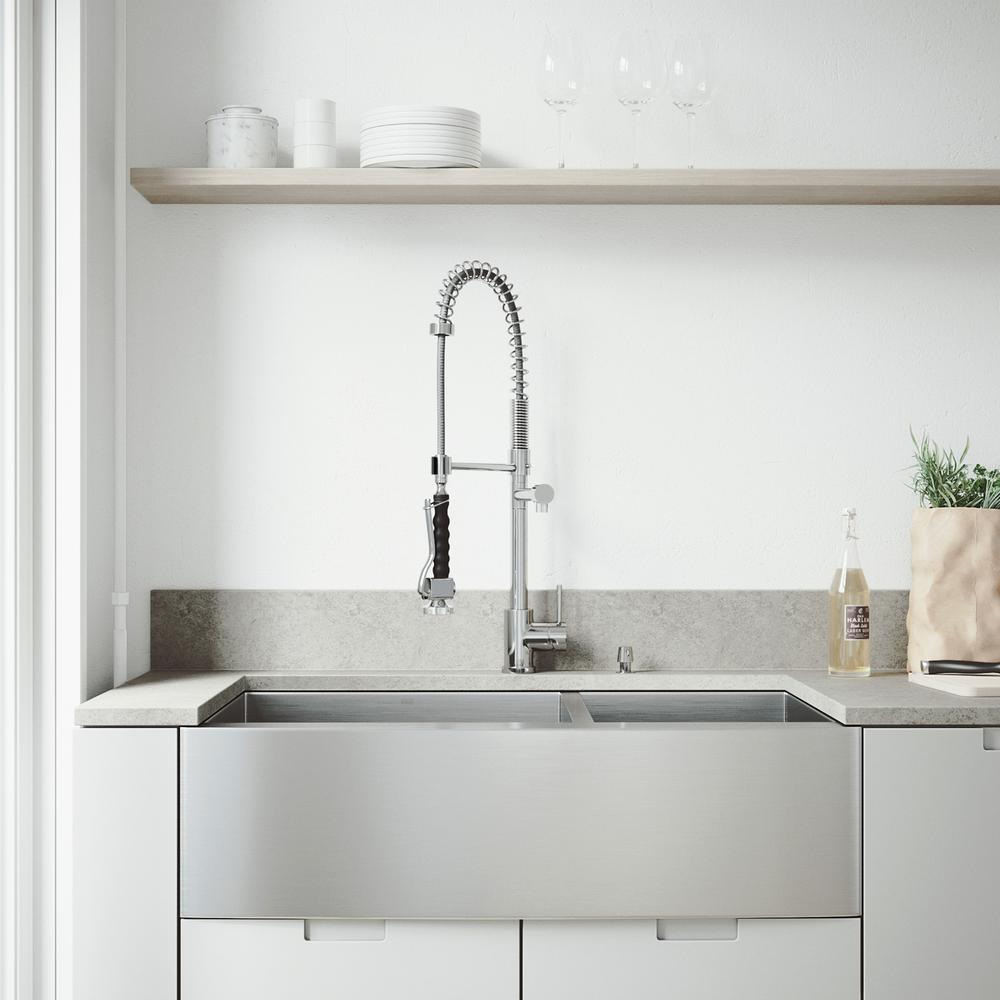 VIGO All-in-One 36 in. Chisholm Stainless Steel 60/40 Double Bowl Farmhouse  Kitchen Sink with Pull Down Faucet in Chrome