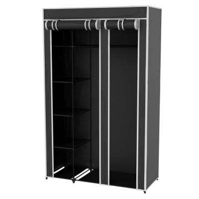 43 in. x 68.5 in. x 15.5 in. Black Portable Wardrobe Closet Organizer