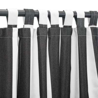 50 in. x 108 in. Outdoor Single Curtain with Tabs in Black Stripe