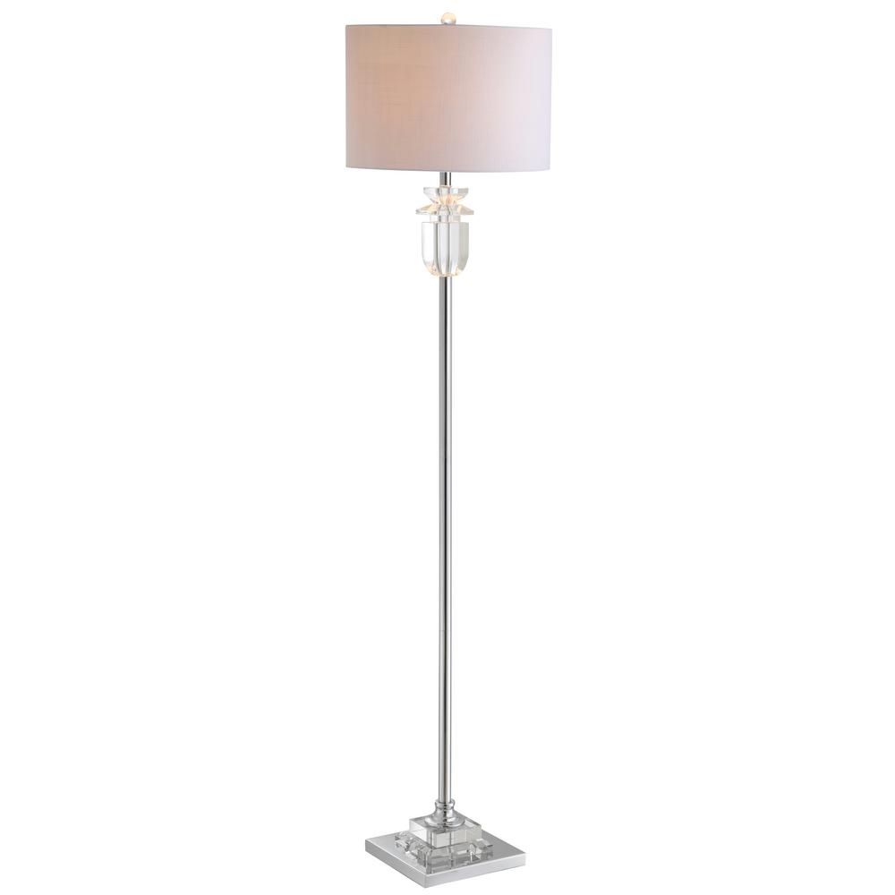 Aria 63 in. Clear/Chrome Crystal/Metal Floor Lamp