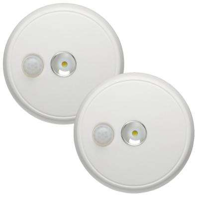 Indoor/ Outdoor 100 Lumen Battery Powered Motion Activated LED Ceiling Light, White (2-Pack)