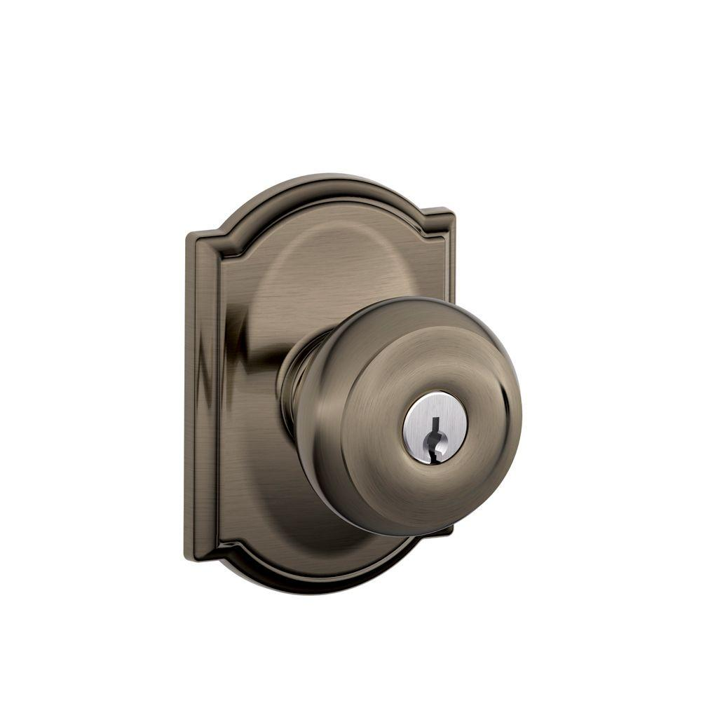 Camelot Collection Antique Pewter Georgian Keyed Entry Knob