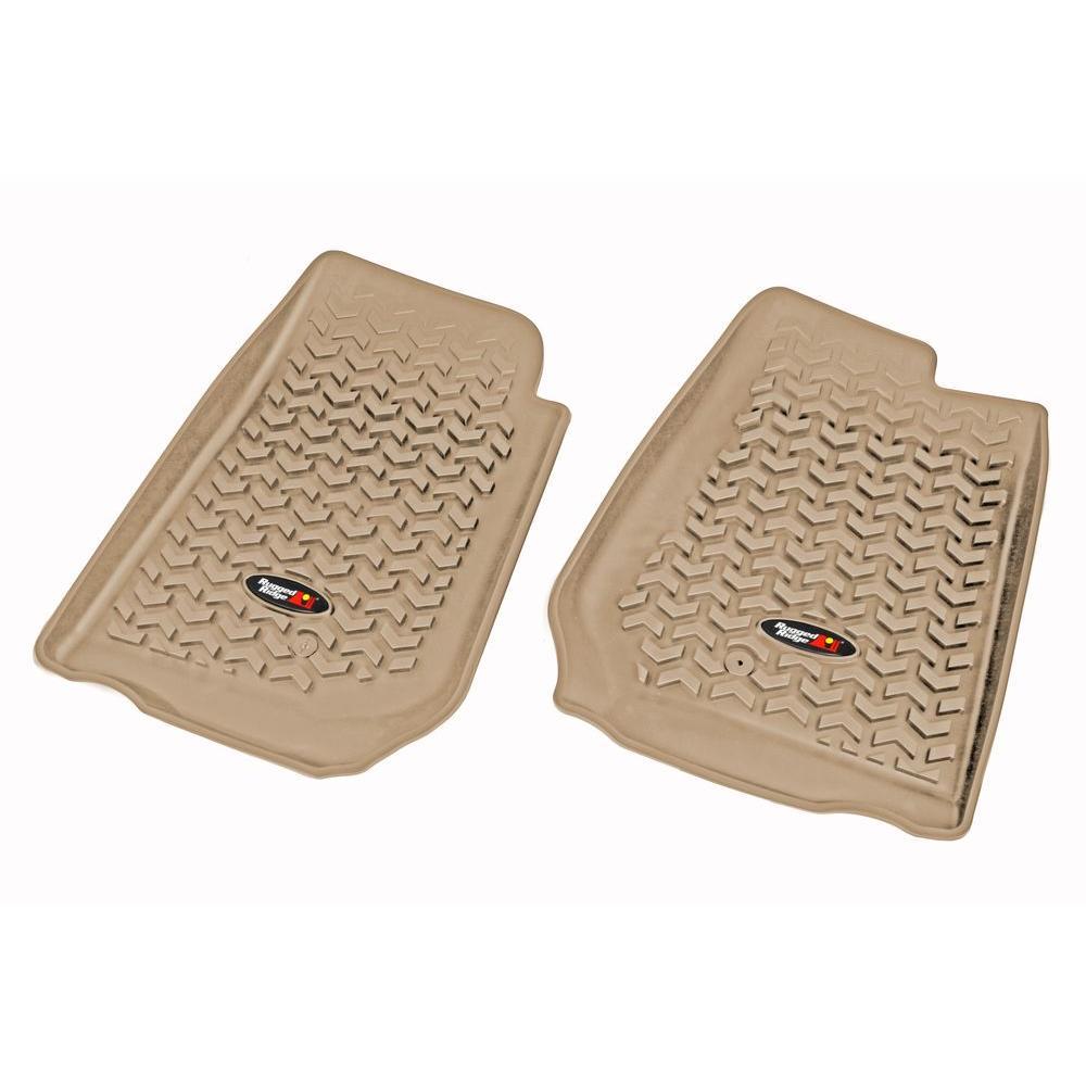 Floor Liner Front Pair Tan 2007-2013 RHD Jeep Wrangler JK