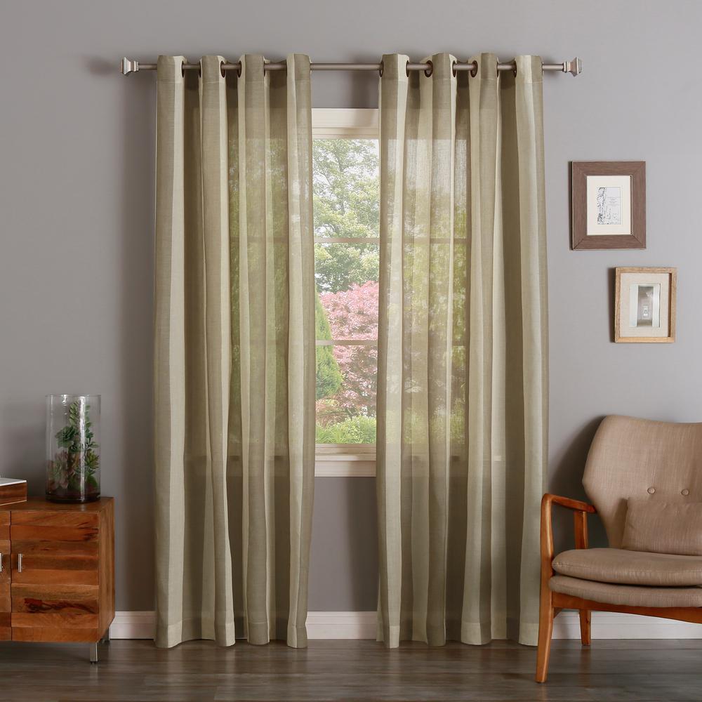 Best Home Fashion 96 In L Brown Faux Linen Mesh Stripe Curtain 2