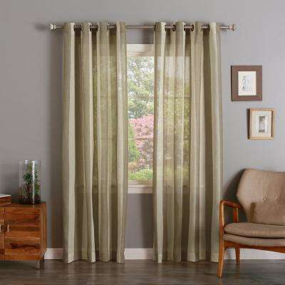 ... Best Home Fashion. Compare. 96 In. L Brown Faux Linen Mesh Stripe  Curtain (2 Pack)