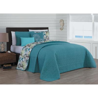 Surf City 5-Piece Blue Queen Quilt Set