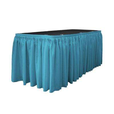 21 ft. x 29 in. Long Dark Turquoise Polyester Poplin Table Skirt with 15 L-Clips