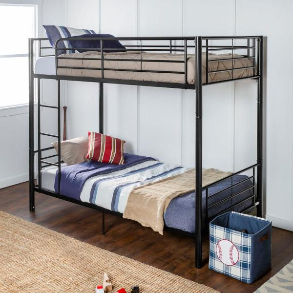 Modern Premium Metal Twin over Twin Bunk Bed - Black
