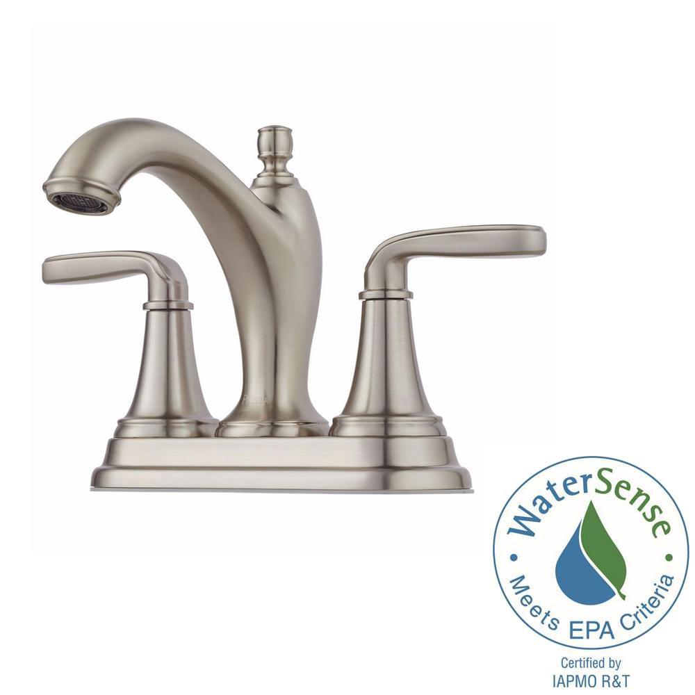 Centerset 2-Handle Bathroom Faucet in Brushed Nickel