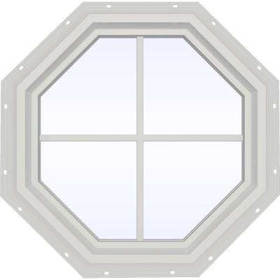 23.5 in. x 23.5 in. V-4500 Series Fixed Octagon Geometric Vinyl Window with Grids in White