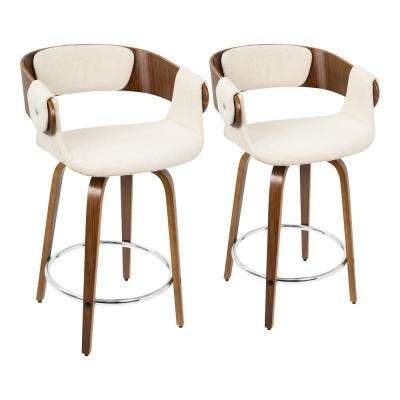 Elisa 24 in. Walnut and Cream Counter Stool (Set of 2)