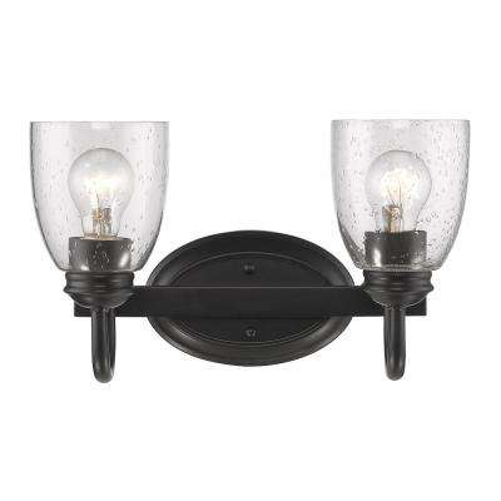 Parrish 2-Light Black Bath Light