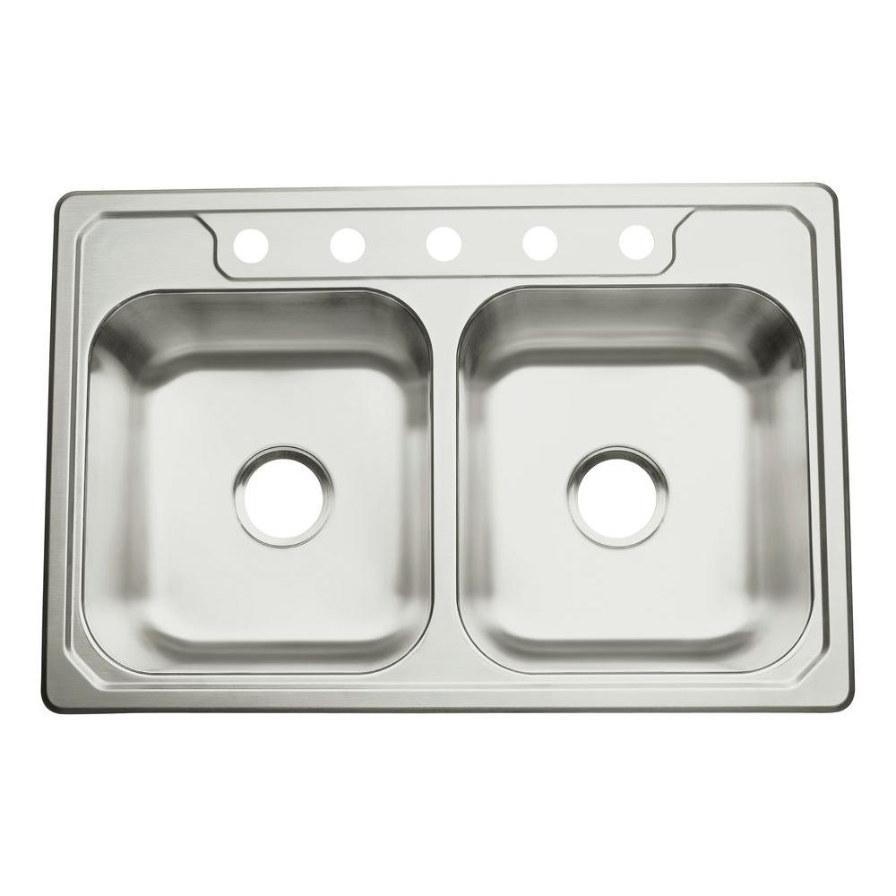 null Middleton 33x22x8 5 Hole Double-basin Kitchen Sink in Stainless Steel