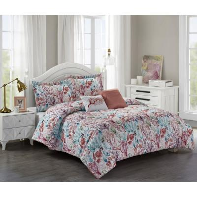 Coral Sea 5-Piece Pink King Comforter Set