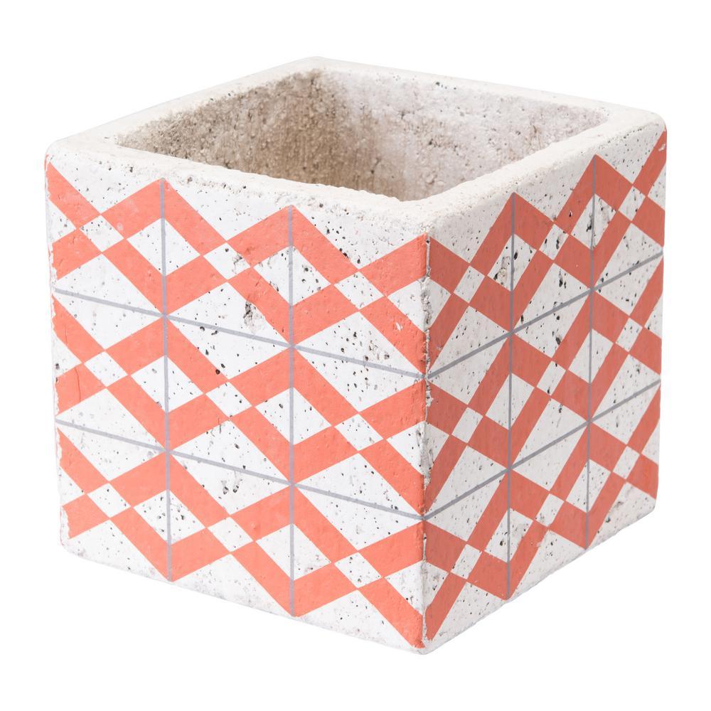Cement Triangles 5.7 in. W x 5.7 in. H Orange and White Ceramic Planter