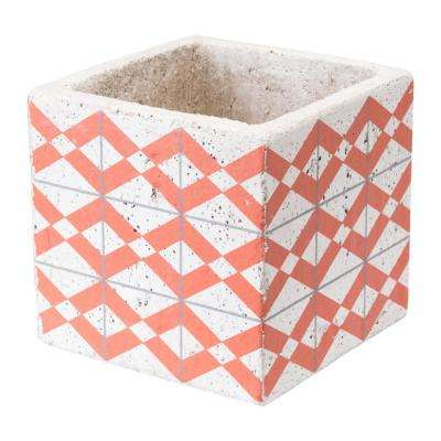 Cement Triangles 5.7 in. W x 5.7 in. H Orange and White Ceramic Planter