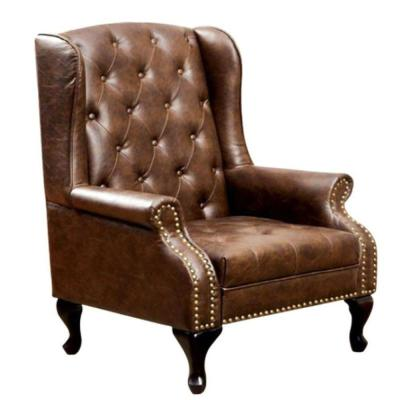 Brown Wing Accent Chair in Nail Head