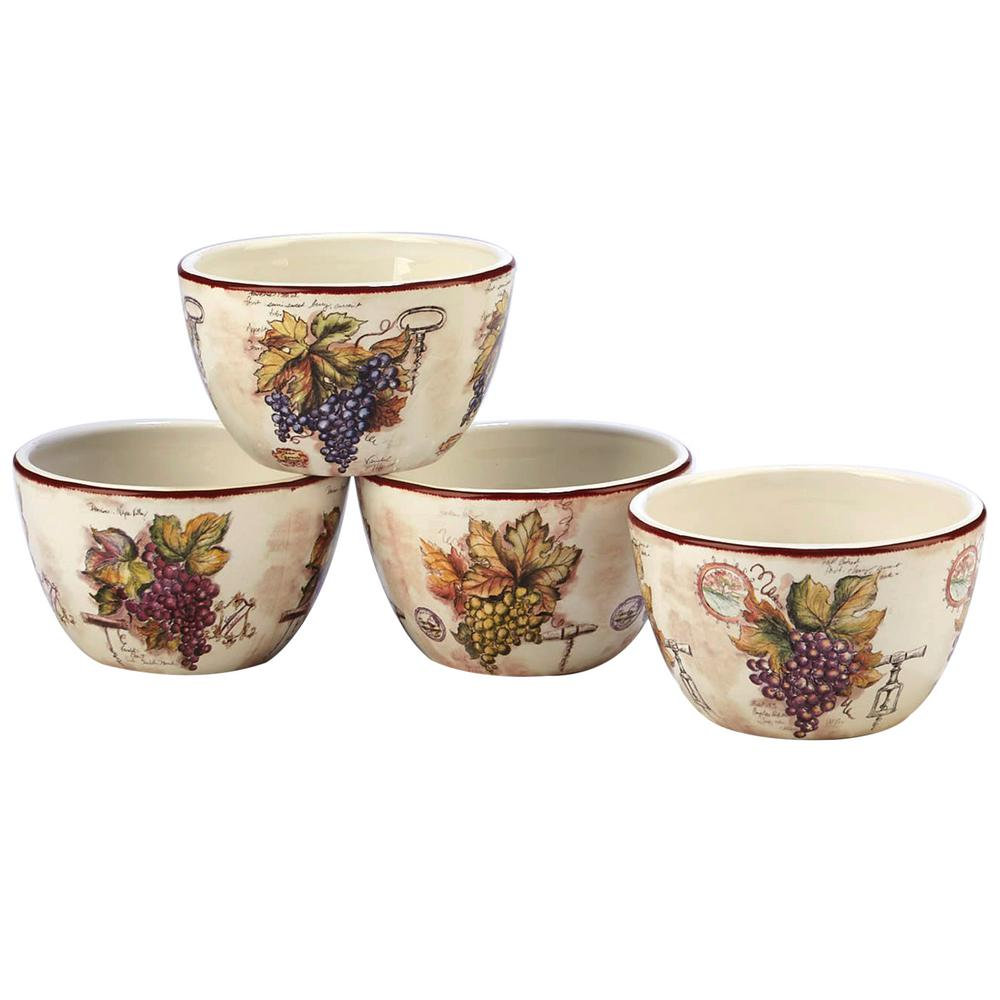 Vintners Journal 4-Piece Multi-Colored 4 in. Tidbit Bowl Set