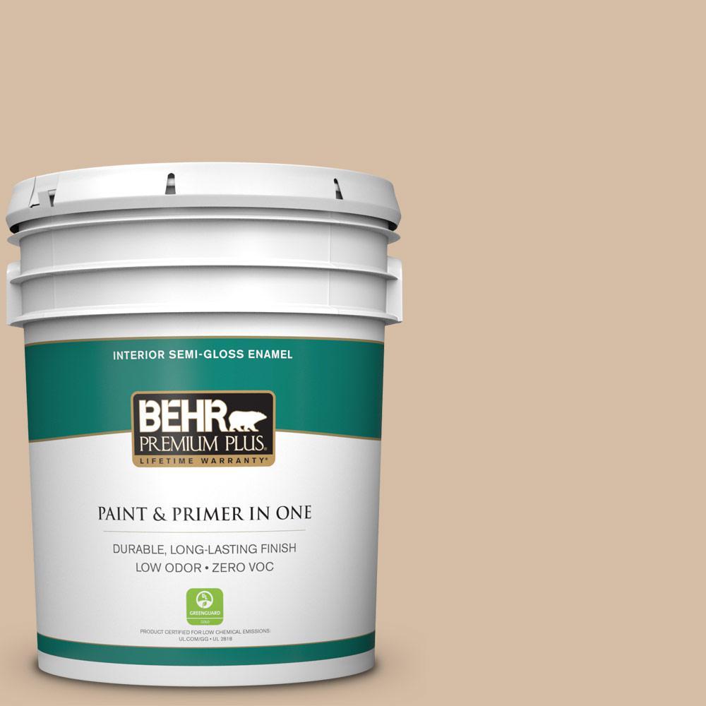 BEHR Premium Plus 5-gal. #HDC-SM14-3 Concept Beige Zero VOC Semi-Gloss Enamel Interior Paint