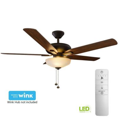 Holly Springs 52 in. LED Indoor Oil-Rubbed Bronze Smart Ceiling Fan with Light Kit and WINK Remote Control