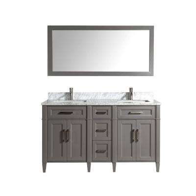 Savona 60 in. W x 22 in. D x 36 in. H Bath Vanity in Grey with Vanity Top in White with White Basin and Mirror