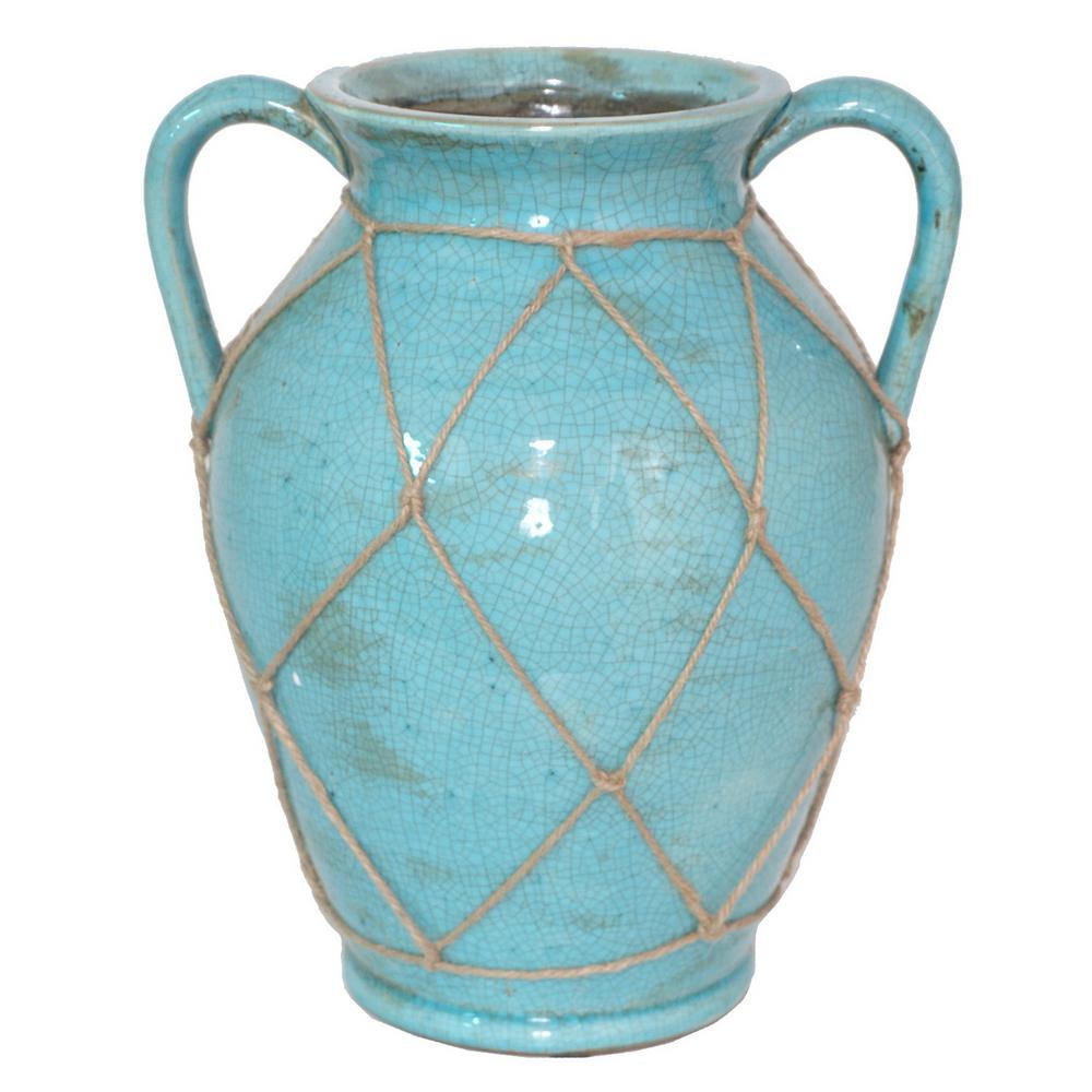 Blue Ceramic Decorative Vase with Mesh Rope