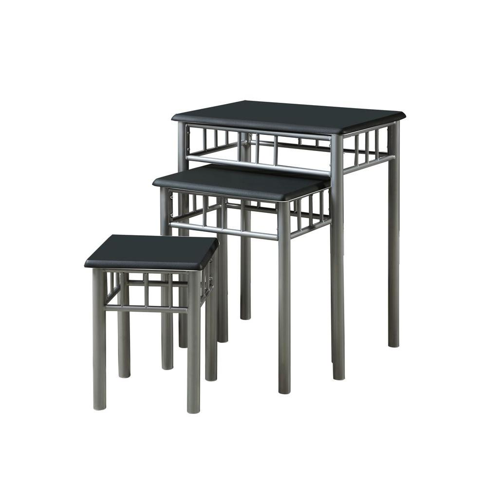Monarch Specialties Black/Silver Metal Nesting Table Set (3-Pieces)